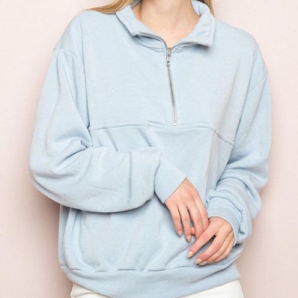 brandy melville heather gray oversize 1//4 zip Missy pocket sweatshirt NWT sz M